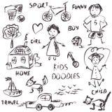 Kids doodles cartoon royalty free illustration
