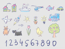Kids doodles in pale colors Royalty Free Stock Image
