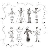 Kids Doodles,women,dancing posing,being happy,graphic resources Royalty Free Stock Image