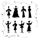 Kids Doodles,women,dancing posing,being happy,graphic resources Royalty Free Stock Photography