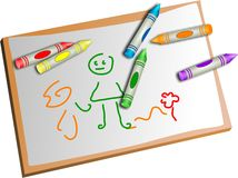 Kids drawing. And crayons isolated on white Stock Image