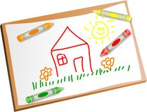 Kids drawing. Childs drawing of a house with coloured crayons Royalty Free Stock Images