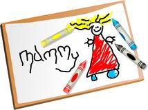 Kids drawing. Childs drawing of mummy with coloured crayons Stock Photos