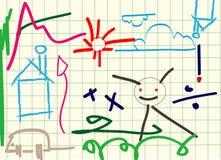 Kids drawing. Children drawing using illustrator brush Royalty Free Stock Image