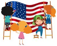 Kids Drawing American Flag on White Backgrtound. Illustration royalty free illustration