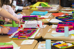 Kids drawing. At the artistic hour in a kindergarten in Bucharest Romania royalty free stock image