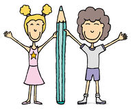 Kids  drawing / Boy and girl holding big pencil. Stock Photo