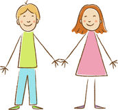 Kids Drawing. Boy and girl. Holding hands Stock Photos