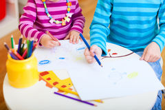 Kids drawing closeup Royalty Free Stock Photos