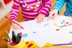 Kids drawing closeup Royalty Free Stock Photos