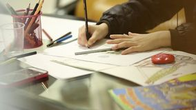 Kids Drawing With Colored Pencils stock footage