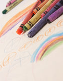 Kids drawing in crayon Stock Image