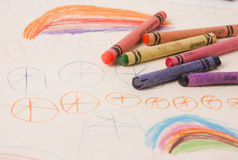Kids drawing in crayon. Kids crayon drawing with crayons Royalty Free Stock Image