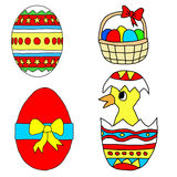 Kids drawing -  easter set Stock Photography