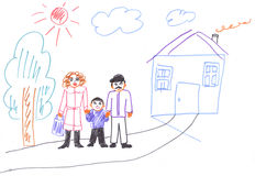 Kids drawing of family. And house, illustration Stock Image