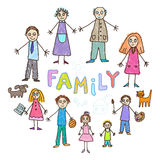 Kids Drawing. Family. With grandfather, grandmother, father, mother, two sons, two daughters and baby Stock Images