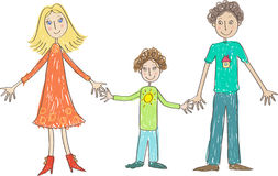 Kids Drawing. Family: mother, father and son Royalty Free Stock Images