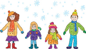 Kids Drawing. Family in the winter. Family: the father, mum, the daughter and the son in warm clothes walk in the winter under snow Stock Images