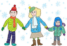 Kids Drawing. Family in the winter: mother, father vector illustration