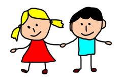 Kids drawing -  friends Stock Photo