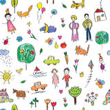 Kids drawing funny seamless pattern - cute. Illustration Royalty Free Stock Photo