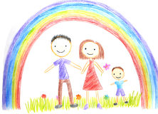 Kids drawing happy family Stock Photo