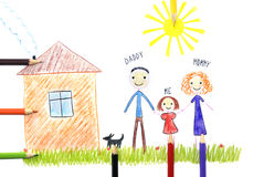 Kids drawing happy family near their house stock photos