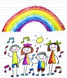 Kids drawing image. Little children, boys and girls. School, kindergarten illustration. Play and grow. Teacher with