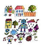 Kids drawing image. Space exploration. School, kindergarten illustration. Play and grow. Crayon image. Ufo, alien royalty free stock photo