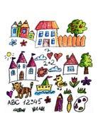 Kids drawing image. Space exploration. School, kindergarten illustration. Play and grow. Crayon image. Ufo, alien stock image