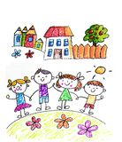 Kids drawing image. Space exploration. School, kindergarten illustration. Play and grow. Crayon image. Ufo, alien stock photo