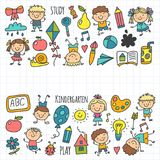 Kids drawing Kindergarten School Happy children play Illustration for kids Nursery Preschool Children icon. Kids drawing Kindergarten School Happy children play Royalty Free Stock Photography