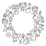 Kids drawing Kindergarten School Happy children play Illustration for kids Nursery Preschool Children icon. Kids drawing Kindergarten School Happy children play Stock Image