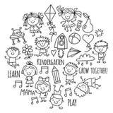 Kids drawing Kindergarten School Happy children play Illustration for kids Nursery Preschool Children icon. Kids drawing Kindergarten School Happy children play Stock Photo
