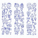 Kids drawing Kindergarten School Happy children play Illustration for kids Nursery Preschool Children icon royalty free illustration