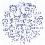 Kids drawing Kindergarten School Happy children play Illustration for kids Nursery Preschool Children icon. Kids drawing Kindergarten School Happy children play vector illustration
