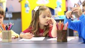 Kids Drawing at Kindergarten stock video