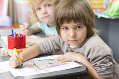 Kids Drawing at Kindergarten Royalty Free Stock Images