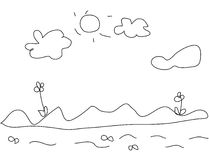 Kids drawing of landscape Stock Image