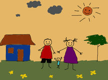 Kids Drawing. Little happy family Royalty Free Stock Images