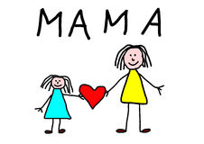 Kids drawing -  mother day greeting card Stock Images