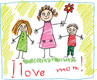 Kids Drawing. The Mother's Day. The Mother's Day. Kids Drawing with mother, daughter and son Stock Photography