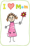 Kids Drawing. The Mother's Day. I love Mom. The Mother's Day. Kids Drawing with words: I love Mom Stock Image