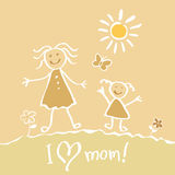 Kids Drawing. The Mother's Day vector heart happy Royalty Free Stock Photography