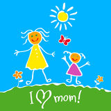 Kids Drawing. The Mother's Day vector heart happy Royalty Free Stock Photo