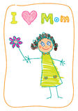 Kids Drawing. The Mother's Day. Stock Photo