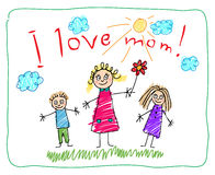 Kids Drawing. The Mother's Day Stock Images