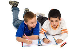 Kids drawing on a notebook Stock Photo