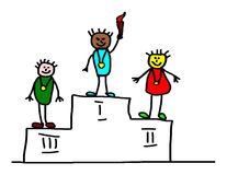 Kids drawing - olympic champions Royalty Free Stock Photography