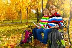 Kids drawing in the park Stock Photo